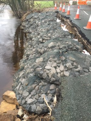 Filter Unit Rockbag utilised as a temporary measure to fill in collapsed river bank